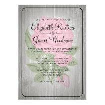 Pink & Black Rustic Floral Wedding Invitations Invitations