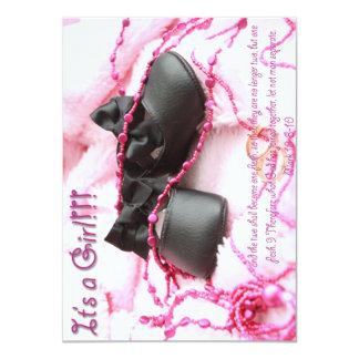 Pink Black Shoes Baby Shower Custom Invitation