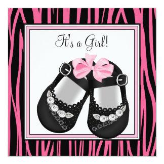 Pink Black Shoes Hot Pink Zebra Baby Shower Card