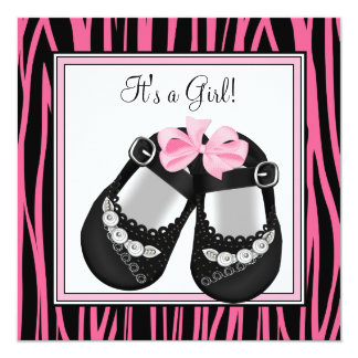 Pink Black Shoes Hot Pink Zebra Baby Shower Custom Announcements