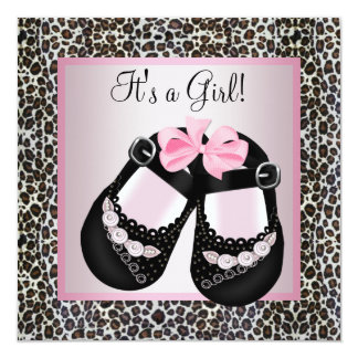 Pink Black Shoes Pink Leopard Baby Girl Shower Personalized Announcement