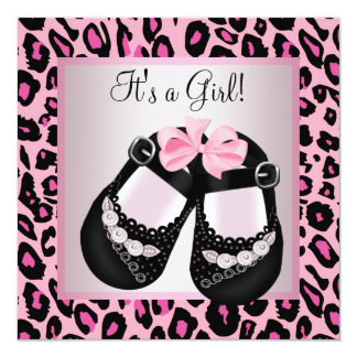 Pink Black Shoes Pink Leopard Baby Girl Shower Personalized Invite