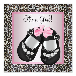 Pink Black Shoes Pink Leopard Baby Girl Shower Announcement