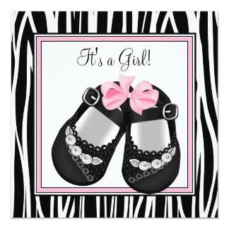 Pink Black Shoes Pink Zebra Baby Girl Shower Card