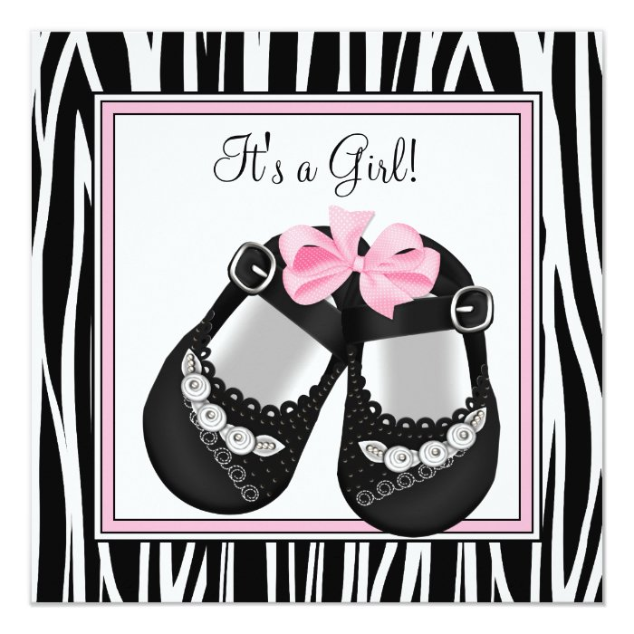 Pink Black Shoes Pink Zebra Baby Girl Shower Card