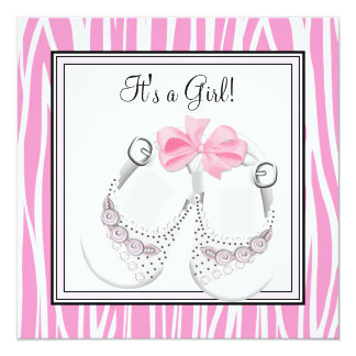 Pink Black Shoes Pink Zebra Baby Girl Shower Personalized Invitation