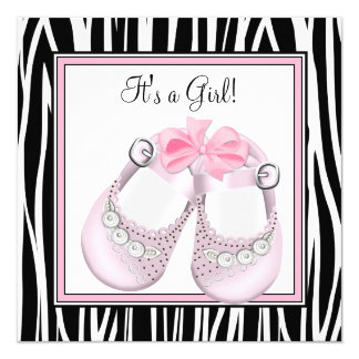Pink Black Shoes Pink Zebra Baby Girl Shower Personalized Announcement