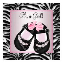 Pink Black Shoes Pink Zebra Baby Shower Card