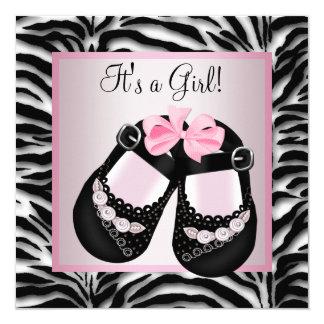 High Quality Pink Black Shoes Pink Zebra Baby Shower Card
