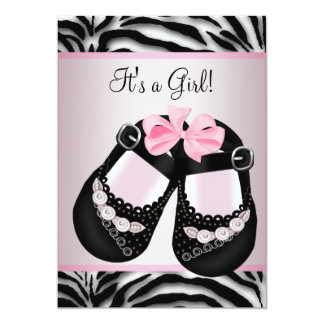 Pink Black Shoes Pink Zebra Baby Shower Personalized Announcement