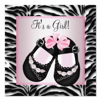 Pink Black Shoes Pink Zebra Baby Shower Custom Invite