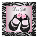 Pink Black Shoes Pink Zebra Baby Shower Personalized Invites