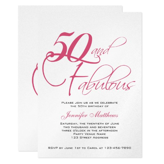 pink black silver 50th birthday invitations zazzle com