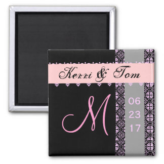 PINK BLACK SILVER Bride Groom Lace Wedding Magnet