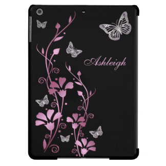 Pink Black Silver Butterfly Floral iPad Air Case