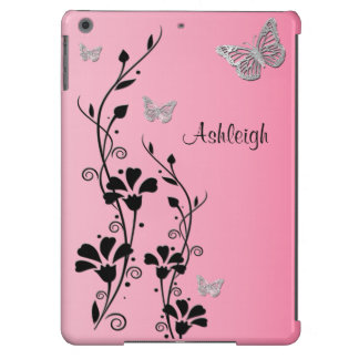 Pink Black Silver Butterfly Floral iPad Air Case 3