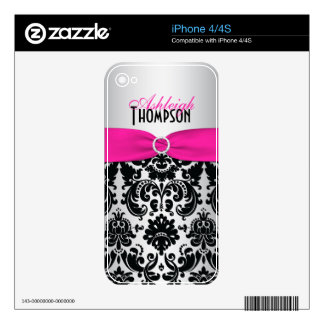 Pink Black Silver Damask iPhone4/4s Skin