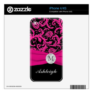 Pink Black Silver Damask iPhone 4/4s Skin Skins For iPhone 4