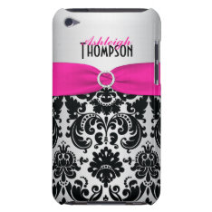 Pink, Black, Silver Damask Ipod Touch Case at Zazzle