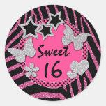Pink Black Silver FAUX Glitter Sweet 16 Sticker