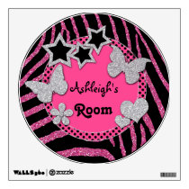 Pink Black Silver Glitter LOOK Zebra Wall Decal