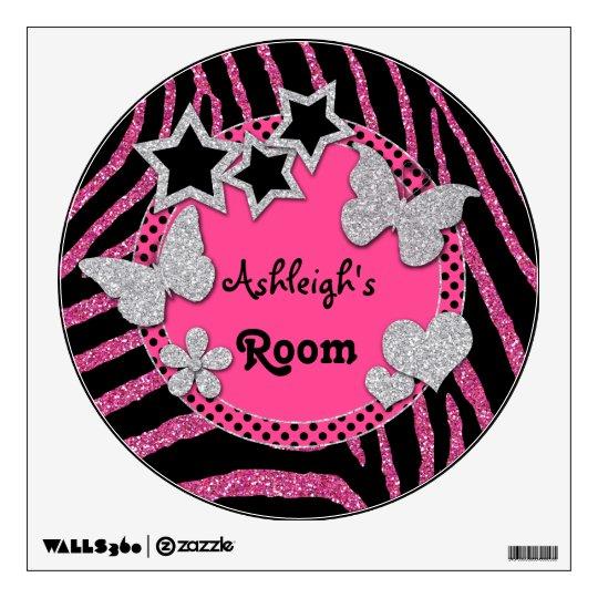 Pink Black Silver Glitter LOOK Zebra Wall Decal