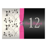 Pink, Black, Silver Gray Floral Bat Mitzvah Invite