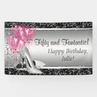Pink Black Silver High Heel Shoe Birthday Party Banner