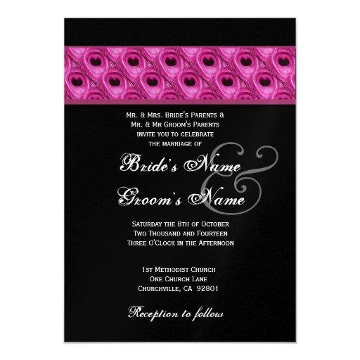 Pink Black Silver Peacock Wedding Metallic 5x7 Paper Invitation Card