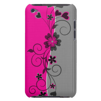 Pink Black Silver swirly flowers and hearts design Barely There iPod Covers