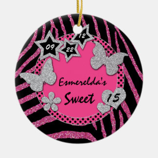 Pink Black Silver Zebra Sweet 15 Photo Ornament