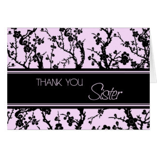 Pink Black Sister Maid of Honor Thank You Card