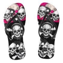 Pink Black Skull Bling Pattern Flip Flops