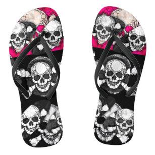 d47fa9e26746f Pink Black Skull Bling Pattern Flip Flops
