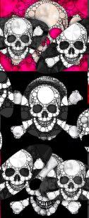 909d38d0796831 Pink Black Skull Bling Pattern Flip Flops