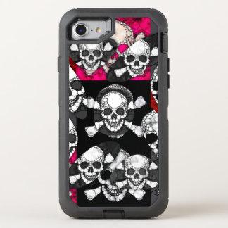 Pink Black Skull Bling Pattern OtterBox Defender iPhone 8/7 Case