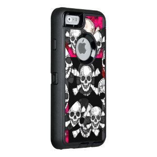 Pink Black Skull Bling Pattern OtterBox Defender iPhone Case