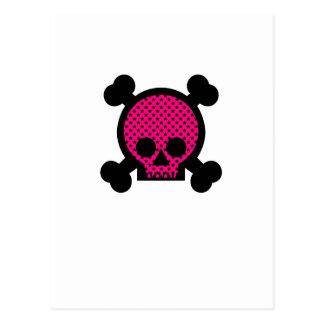 Pink & Black Skull Postcard