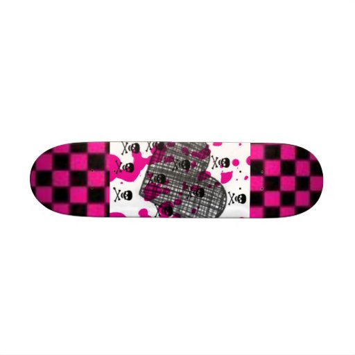 Pink + Black Skullz Skate Board Decks