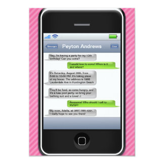 Pink/Black Smart Phone iParty Birthday Party Card
