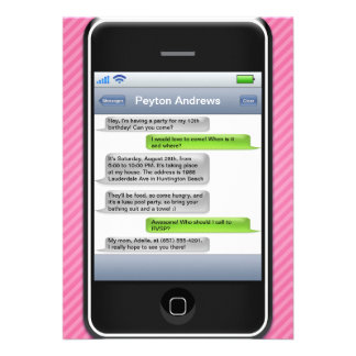Pink Black Smart Phone iParty Birthday Party Personalized Invitations