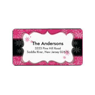 Pink Black Snowflake Winter Holiday Return Address Address Label