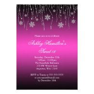 Pink Black Snowflakes Sweet 16 Winter Wonderland Invitations