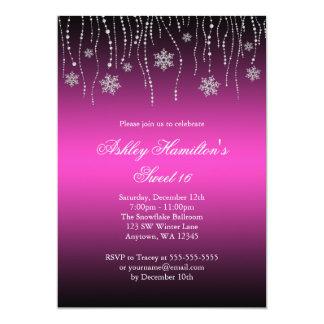 Pink Black Snowflakes Sweet 16 Winter Wonderland 5x7 Paper Invitation Card