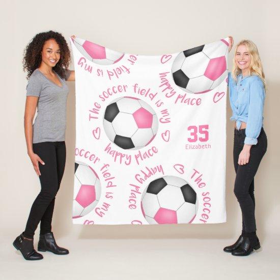 pink black soccer field my happy place typography fleece blanket