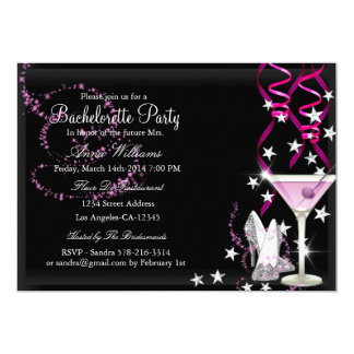 Pink & Black Sparkle Bachelorette Party Invite