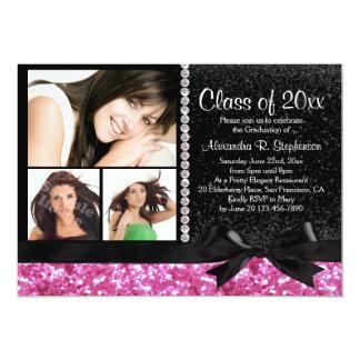 Pink/Black Sparkle Bow 3 Photo Graduation Party 5x7 Paper Invitation Card