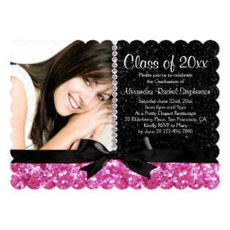 Pink/Black Sparkle-look Bow Photo Graduation Party Card