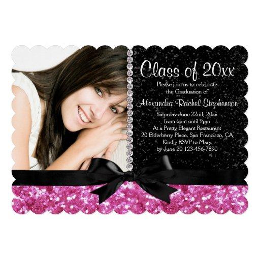 Pink/Black Sparkle-look Bow Photo Graduation Party Custom Invites