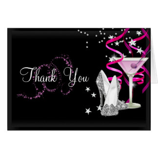 Pink & Black Sparkle Thank You Card